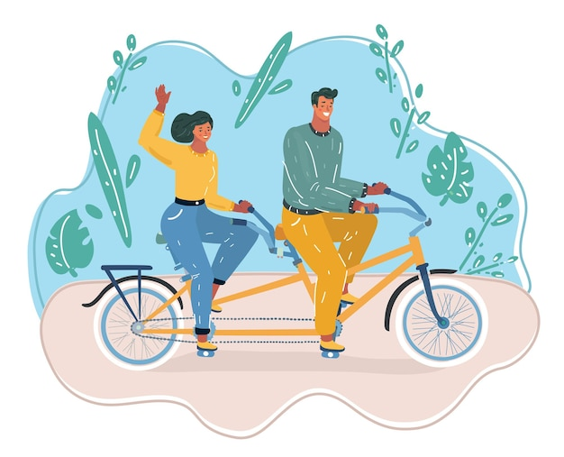 Homem e mulher andam de bicicleta