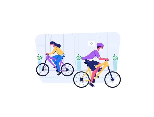 Homem e mulher andando de bicicleta na estrada usam máscara durante covid19 situação de pandemia estilo cartoon plana