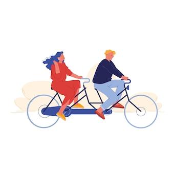 Homem e mulher andando de bicicleta tandem em parque público