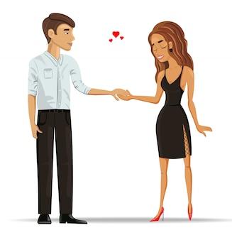 Homem e mulher apaixonada de mãos dadas