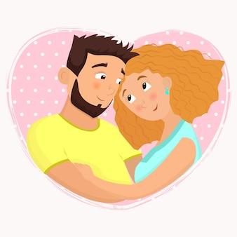 Homem e mulher apaixonados.