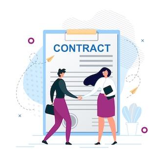 Homem e mulher apertando as mãos concordam em assinar contrato