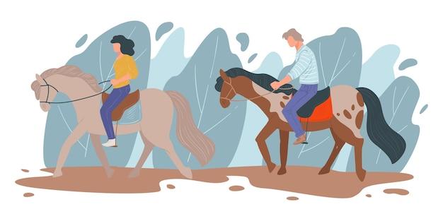 Homem e mulher aprendendo a andar a cavalo, esportes equestres. pessoas em encontros em zona rural, rancho ou campo. personagens masculinos e femininos curtindo a natureza, o lazer da família, vetor em estilo simples