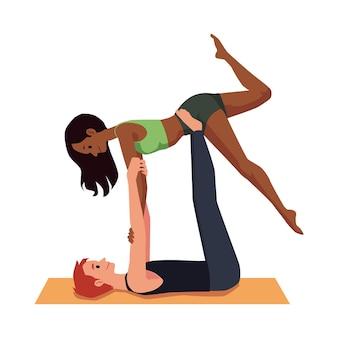 Homem e mulher aproveitando o tempo vago juntos e praticando esportes, apartamento