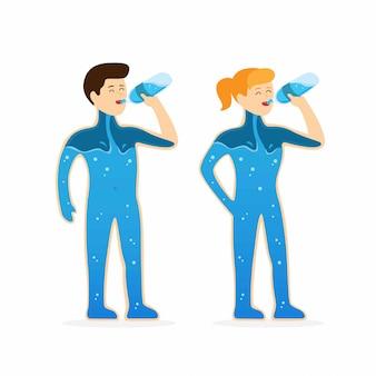 Homem e mulher beber água de garrafa, corpo humano com água para parar de sede e desidratação na ilustração plana dos desenhos animados, isolada no fundo branco