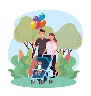Homem e mulher casal com seu filho no carrinho
