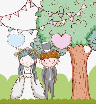 Homem e mulher casamento com balões de árvore e corações