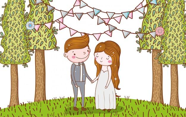 Homem e mulher casamento com bandeiras de festa