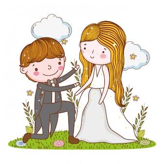 Homem e mulher casamento com nuvens e plantas