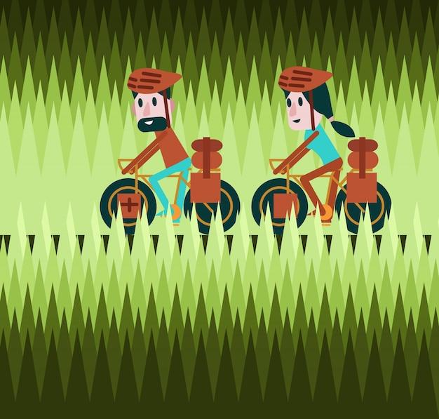 Homem e mulher, ciclismo, greenfield, estrada