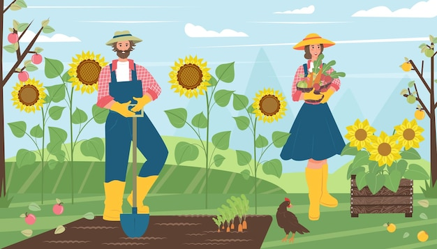 Homem e mulher colhem nos fazendeiros do jardim na aldeia. ilustração vetorial no desenho animado.