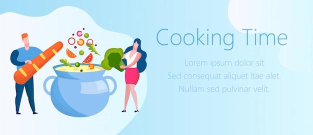 Homem e mulher coloque legumes na panela. tempo de cozimento.