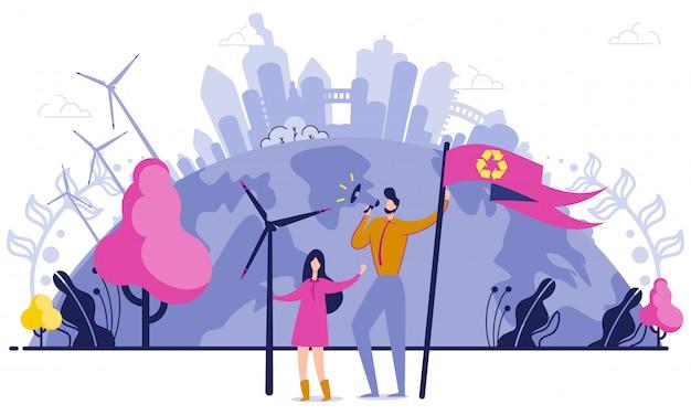 Homem e mulher com bandeira apoiando a reciclagem.