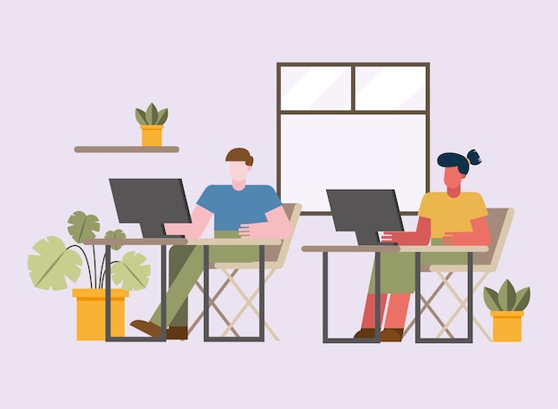 Homem e mulher com computador trabalhando na mesa de casa design do tema teletrabalho. ilustração vetorial