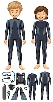 Homem e mulher com equipamentos de mergulho diferentes