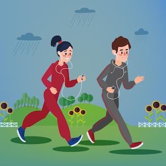 Homem e mulher com fones de ouvido correndo nas colinas