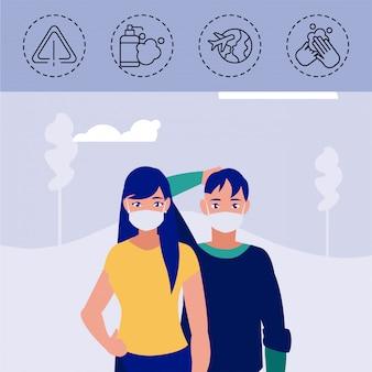 Homem e mulher com ícones de proteção e sintomas de coronavírus