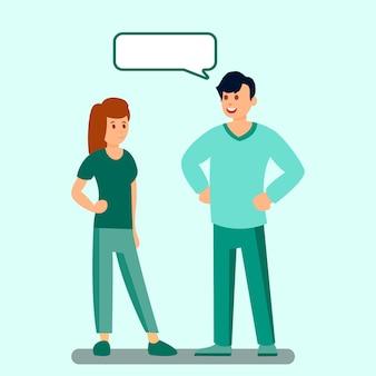 Homem e mulher com ilustração de nuvem de discurso vazio