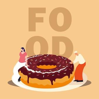 Homem e mulher com ilustração vetorial de comida doce de donut de chocolate