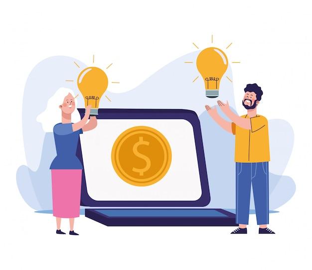 Homem e mulher com lâmpadas e computador portátil com moedas de dinheiro