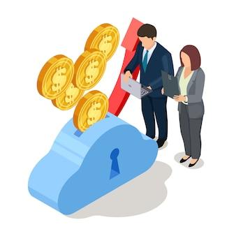 Homem e mulher com laptop e moedas na caixa de dinheiro
