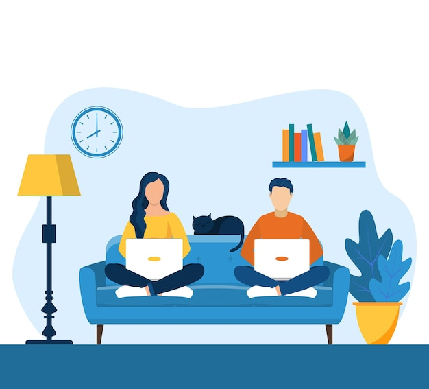 Homem e mulher com laptop