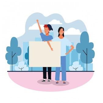 Homem e mulher com letreiro em branco