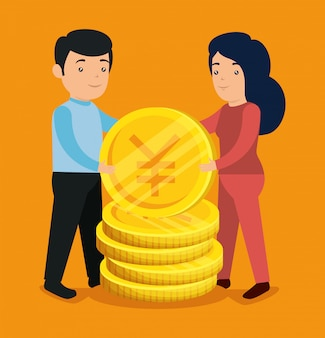 Homem e mulher com moedas de bitcoin e ienes para trocar