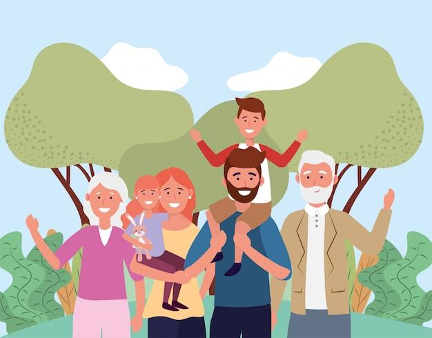 Homem e mulher com seus filhos fofos e pais