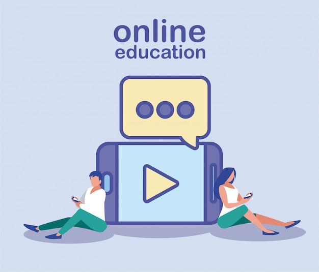 Homem e mulher com smartphone, educação on-line