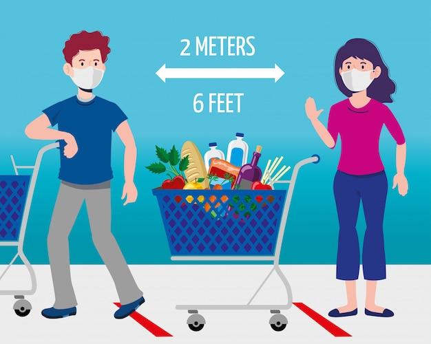 Homem e mulher com suprimentos de quarentena de compras