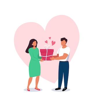 Homem e mulher com uma caixa de presente nas mãos com um grande coração no fundo. relacionamentos do dia dos namorados entre as pessoas. ilustração em vetor plana dos desenhos animados sobre amor, confiança, cuidado, família