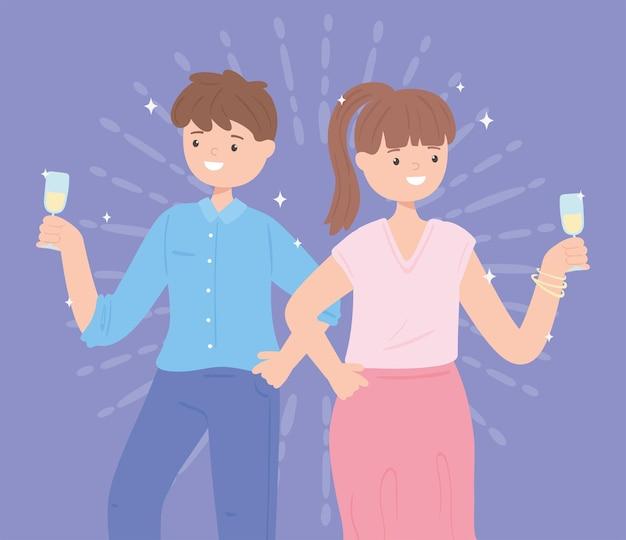 Homem e mulher com vinho