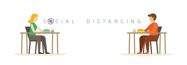 Homem e mulher comendo na mesa, conceito de distanciamento social
