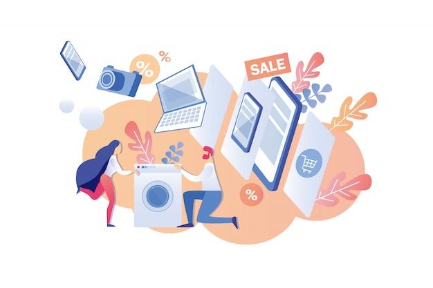 Homem e mulher comprar eletrodomésticos modernos à venda.