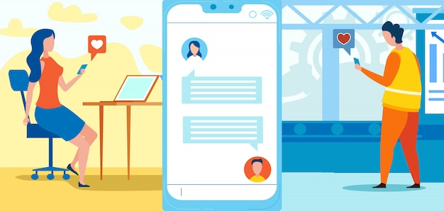 Homem e mulher conversando através de redes sociais
