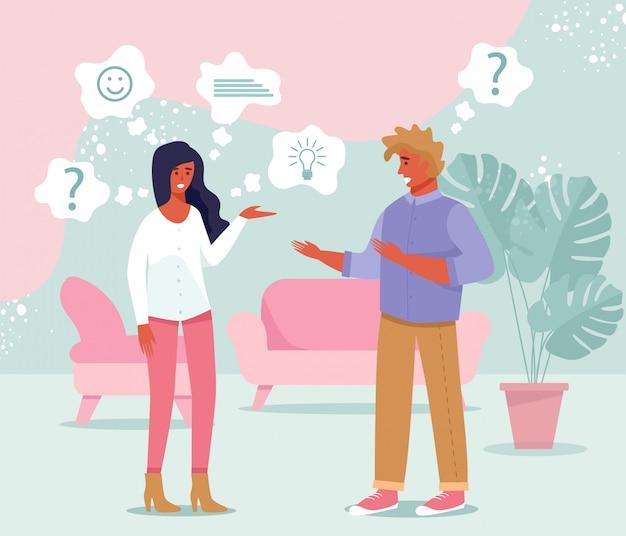 Homem e mulher conversando, discutindo, compartilhando idéias