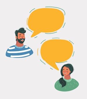 Homem e mulher conversando em balões de fala.