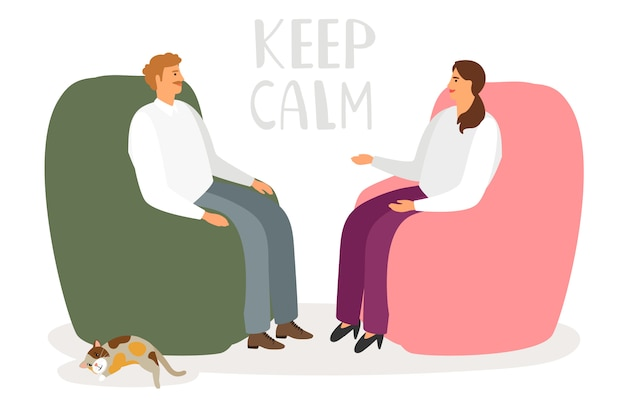 Homem e mulher conversando em um ambiente descontraído