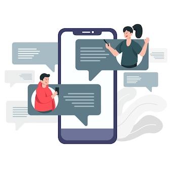 Homem e mulher conversando on-line em ilustração de smartphone