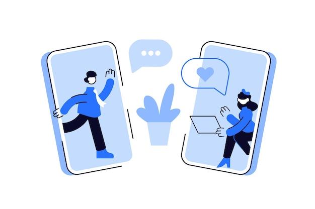 Homem e mulher conversando online nas redes sociais