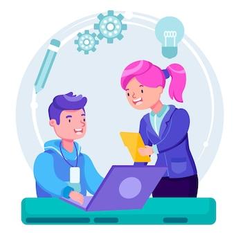 Homem e mulher conversando sobre o conceito de trabalho de estágio