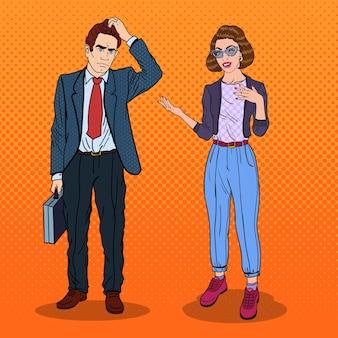 Homem e mulher conversando