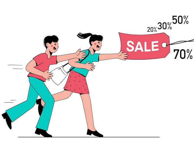 Homem e mulher correm atrás de uma etiqueta com a inscrição venda. dia de grandes descontos. vetor
