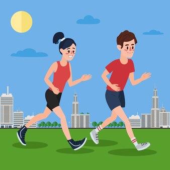 Homem e mulher correndo na megápolis