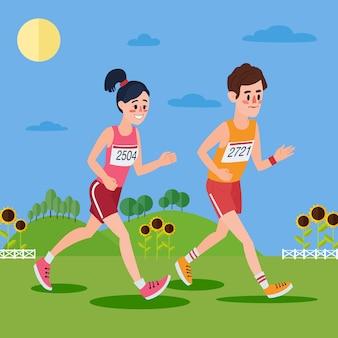 Homem e mulher correndo nas colinas
