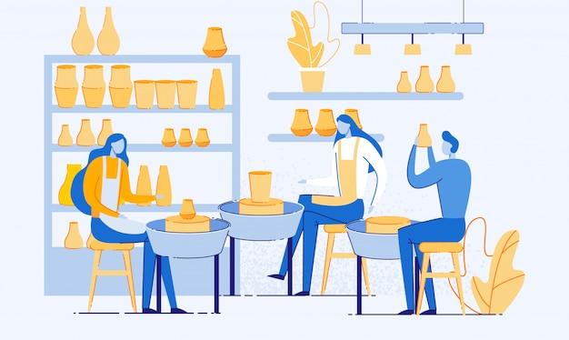 Homem e mulher, criando panelas e oficina de cerâmica.