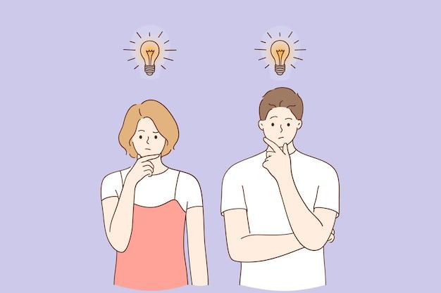 Homem e mulher criativos em pé, pensando com lâmpadas