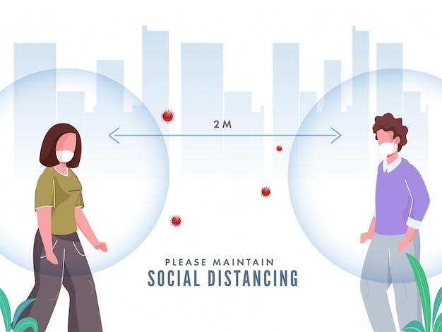 Homem e mulher de desenho animado usando máscara protetora com manter distância social para evitar ataques de coronavírus.