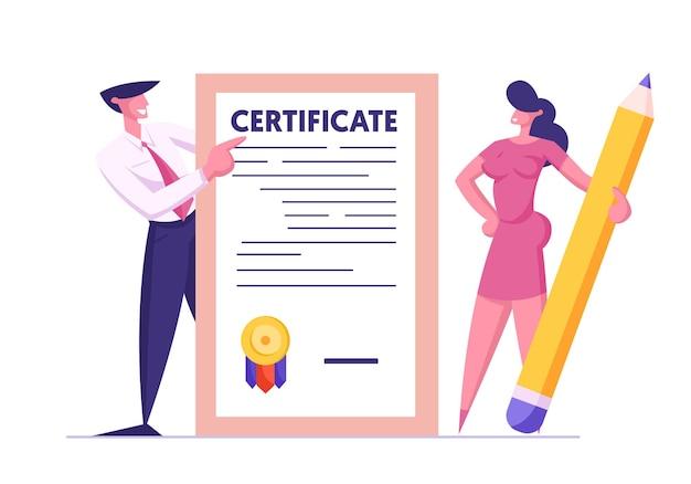 Homem e mulher de negócios com um enorme lápis segurando um certificado de seguro
